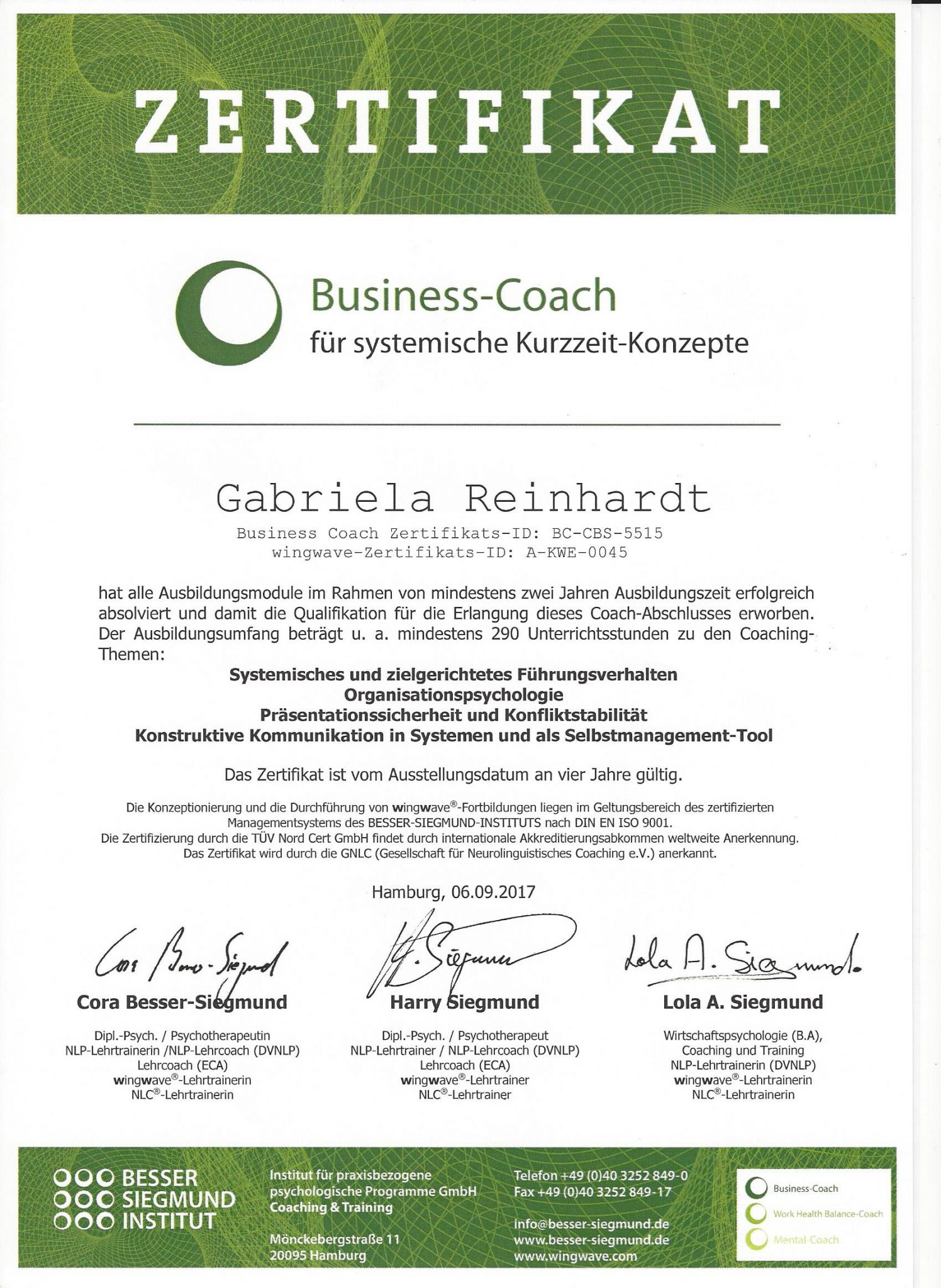 Zertifikat Business-Coach