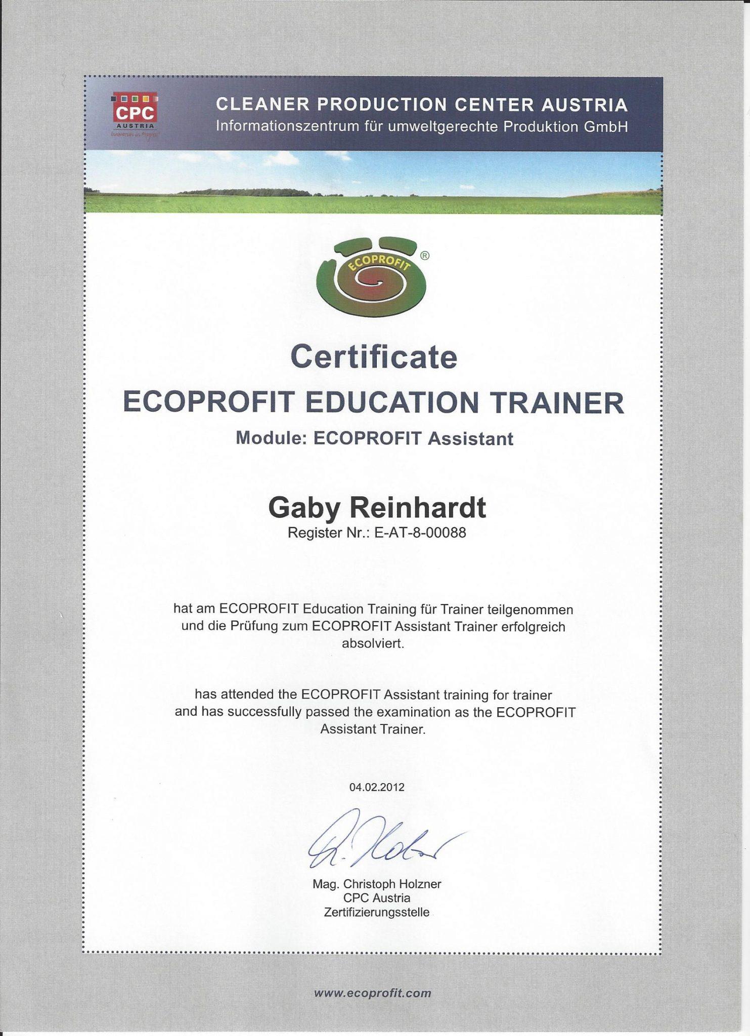 RGH-Consulting | Gabriela Reinhardt | Zertifikate | Zertifikat Ecoprofit Trainer