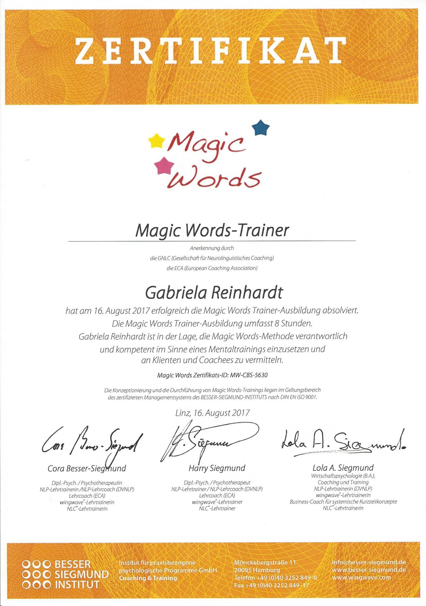 RGH-Consulting | Gabriela Reinhardt | Zertifikate | Zertifikat Magic Words