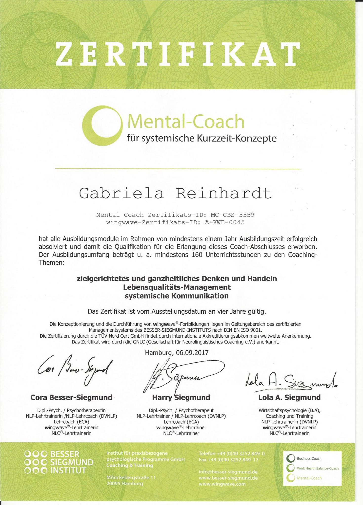 RGH-Consulting | Gabriela Reinhardt | Zertifikate | Zertifikat Mental-Coach