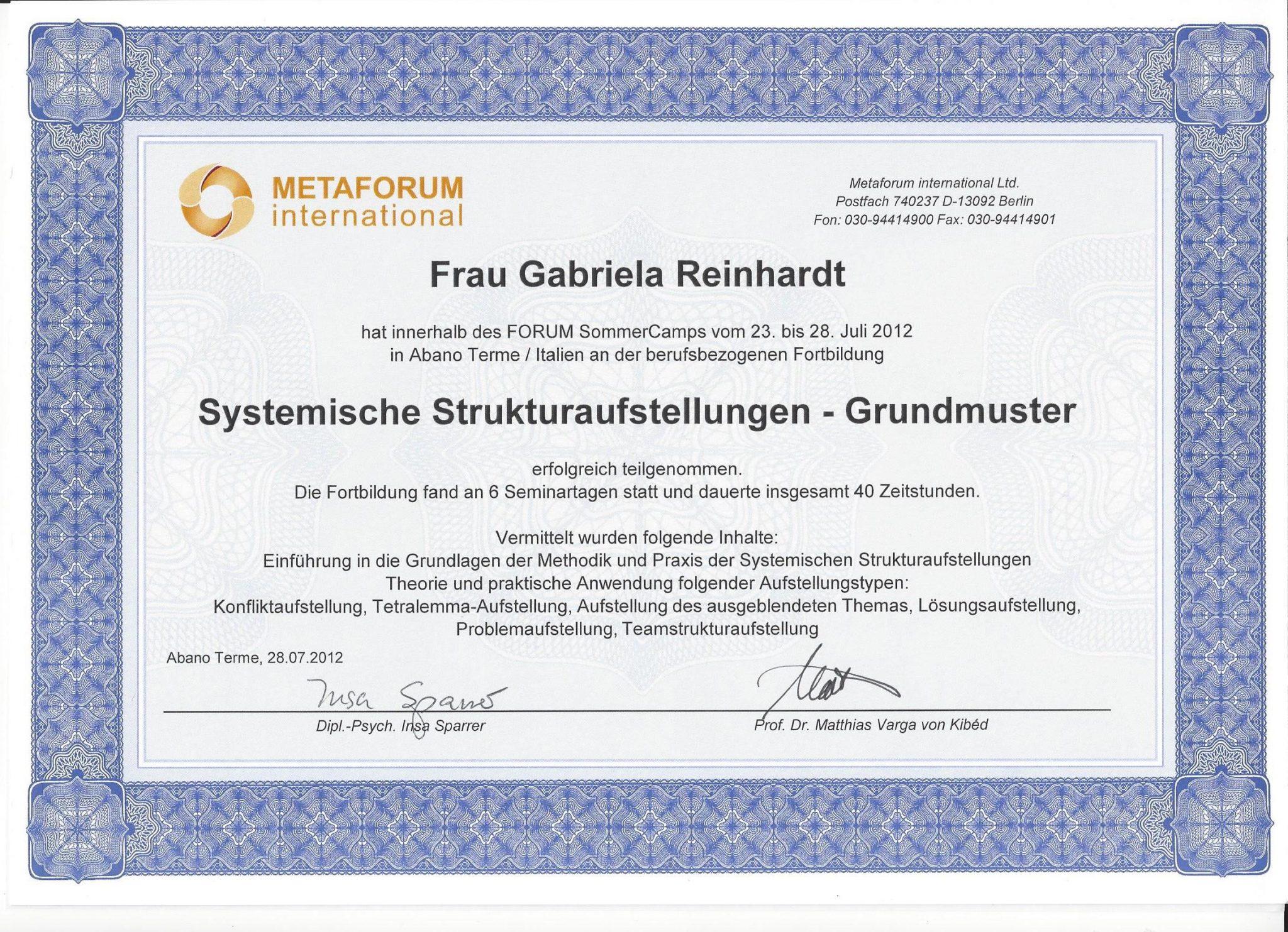 RGH-Consulting | Gabriela Reinhardt | Zertifikate | Zertifikat Metaforum