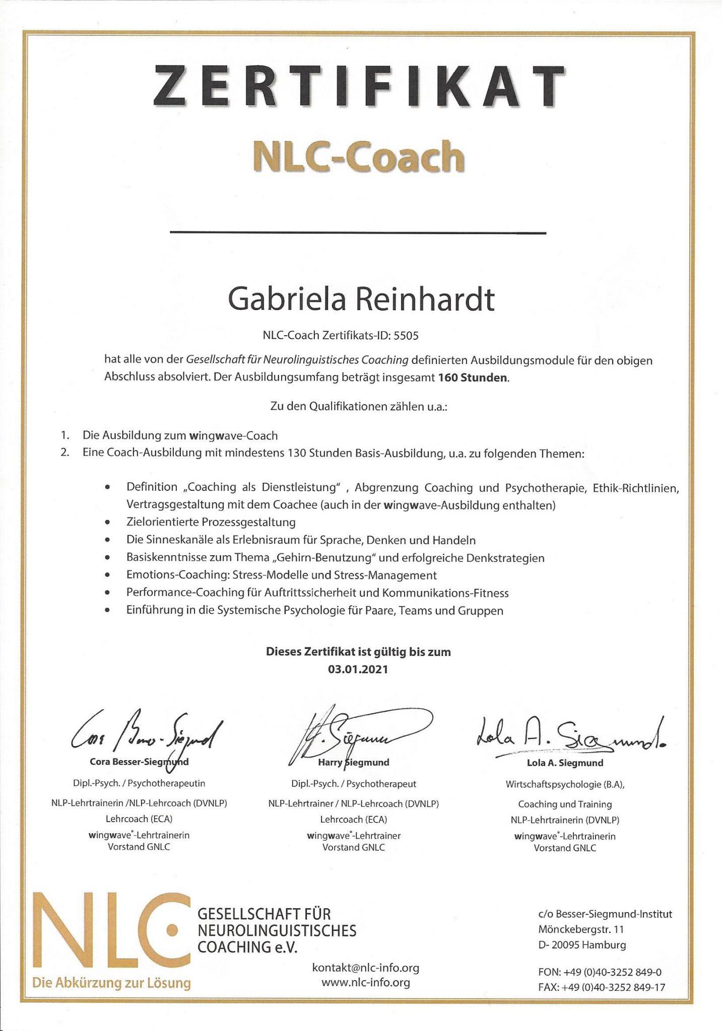 Zertifikate Zur Ausbildung Von Gabriela Reinhardt Rgh Consulting