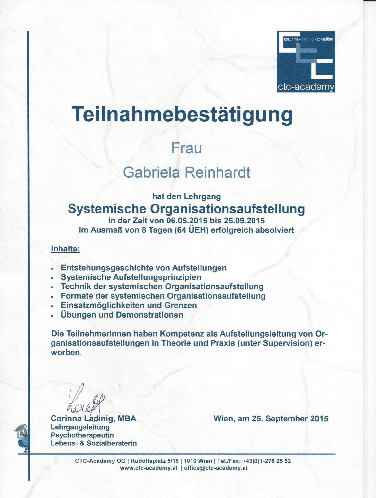 RGH-Consulting | Gabriela Reinhardt | Zertifikate |Zertifikat Systemische Organisationsaufstellung