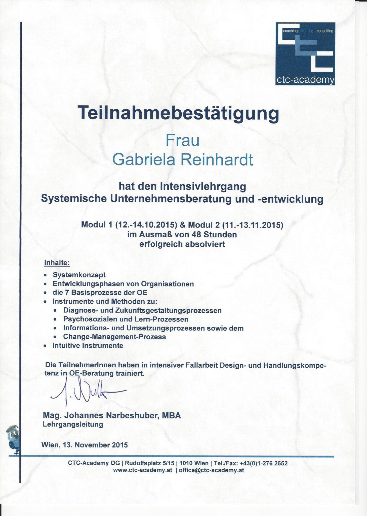 RGH-Consulting | Gabriela Reinhardt | Zertifikate | Zertifikat Systemische Unternehmensberatung und -entwicklung