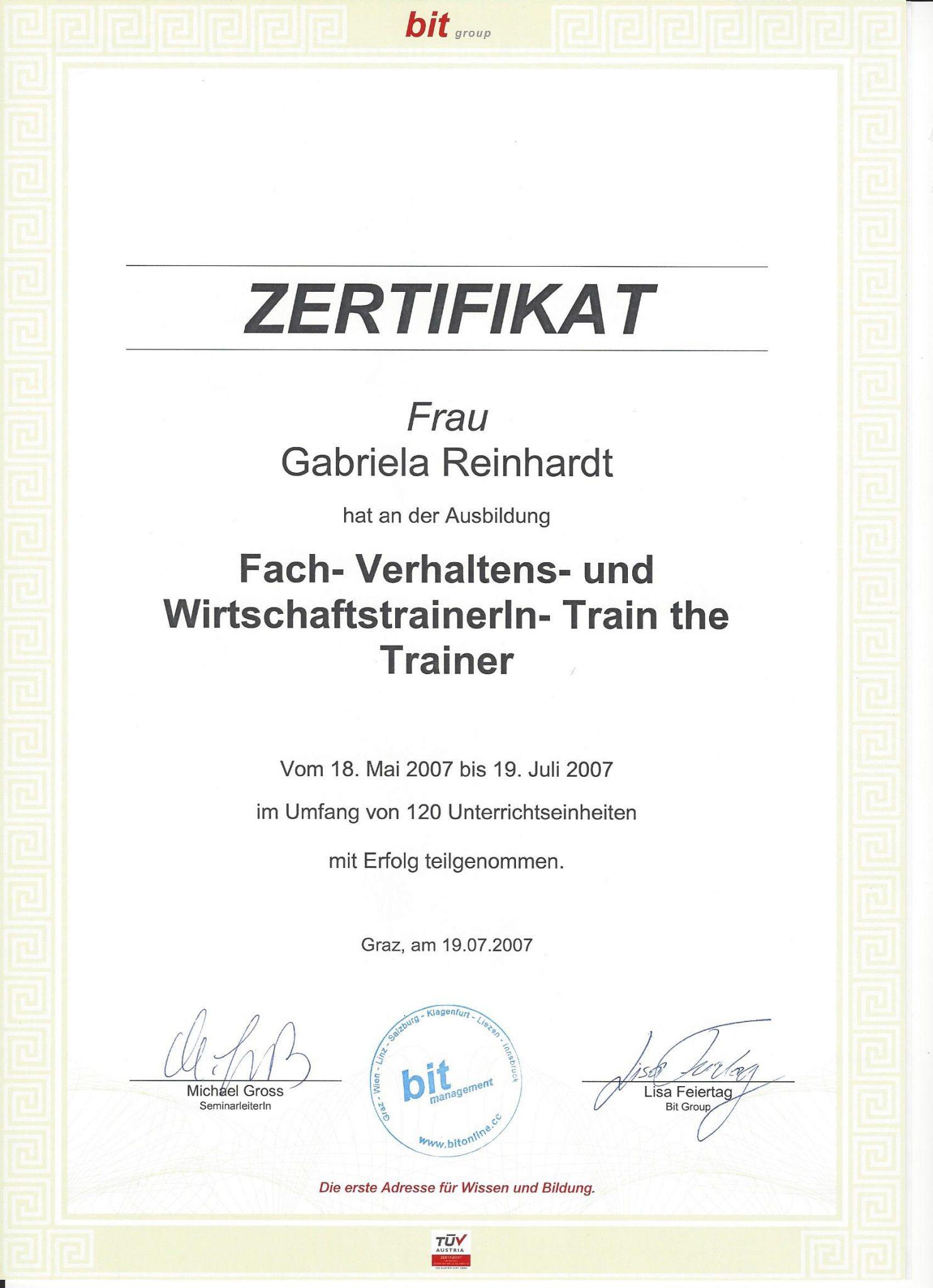 RGH-Consulting | Gabriela Reinhardt | Zertifikate | Zertifikat Trainer Ausbildung