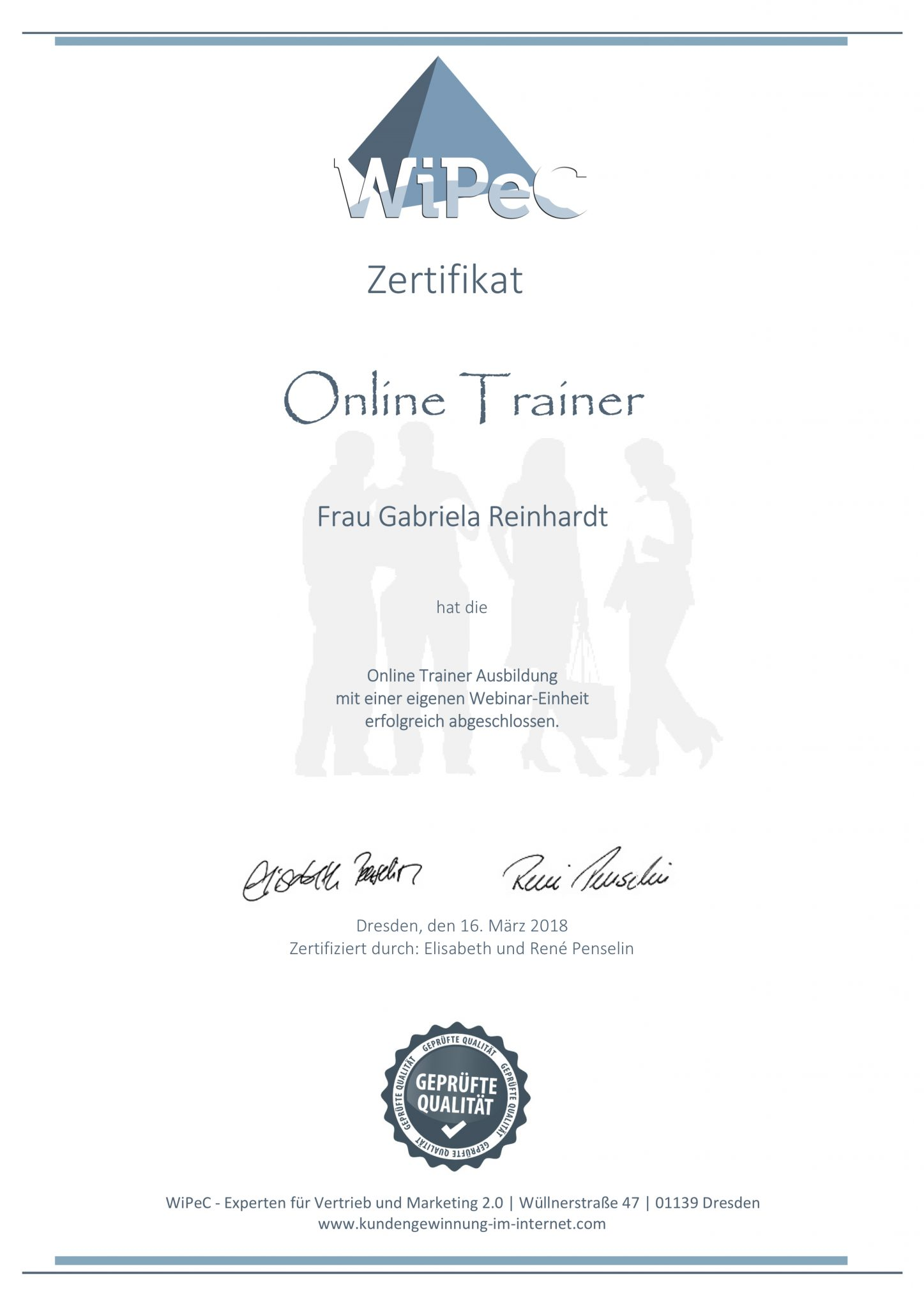 RGH-Consulting | Gabriela Reinhardt | Zertifikate | Zertifikat Online Trainer WiPec
