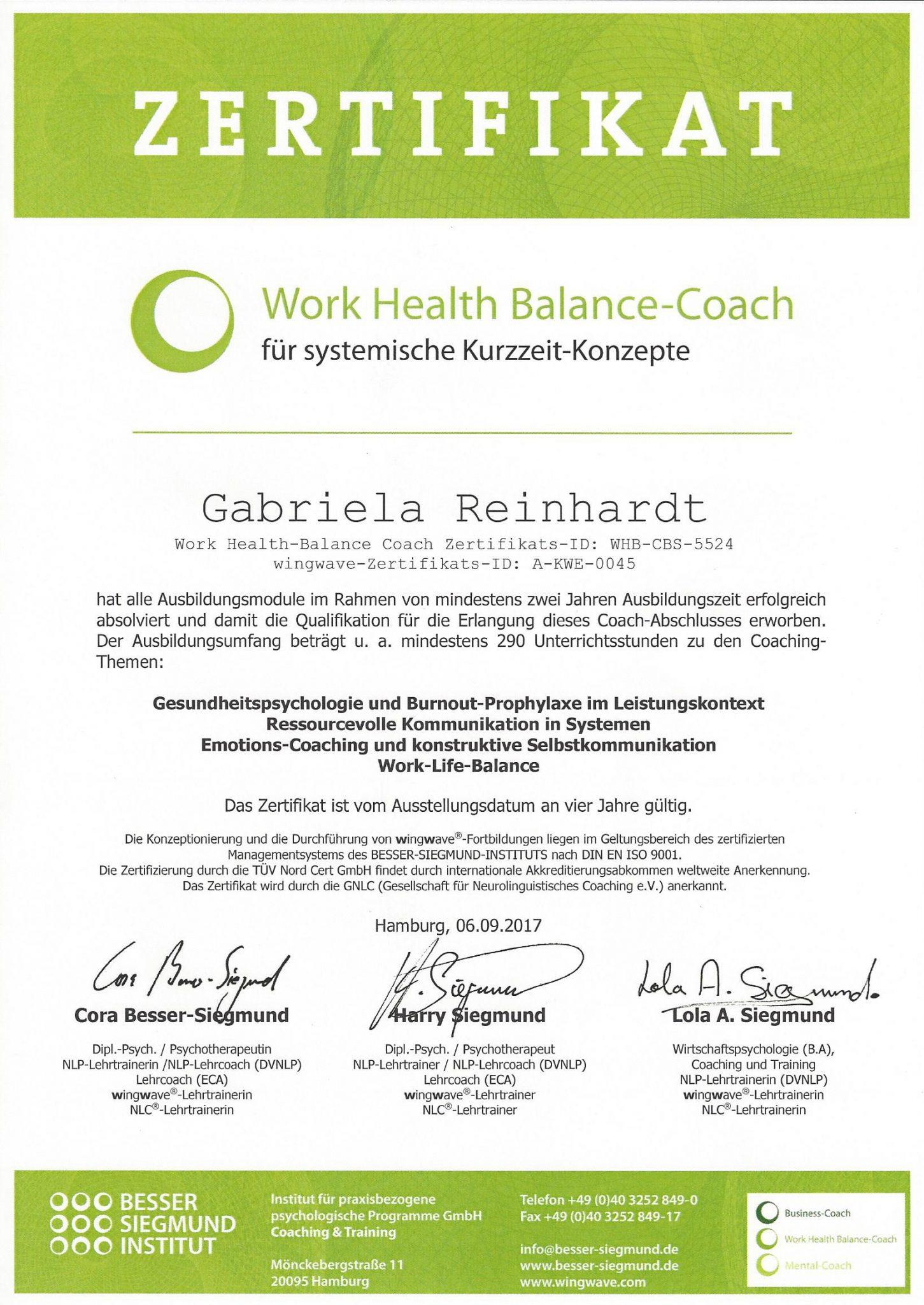 RGH-Consulting | Gabriela Reinhardt | Zertifikate | Zertifikat Work-Health-Balance-Coach