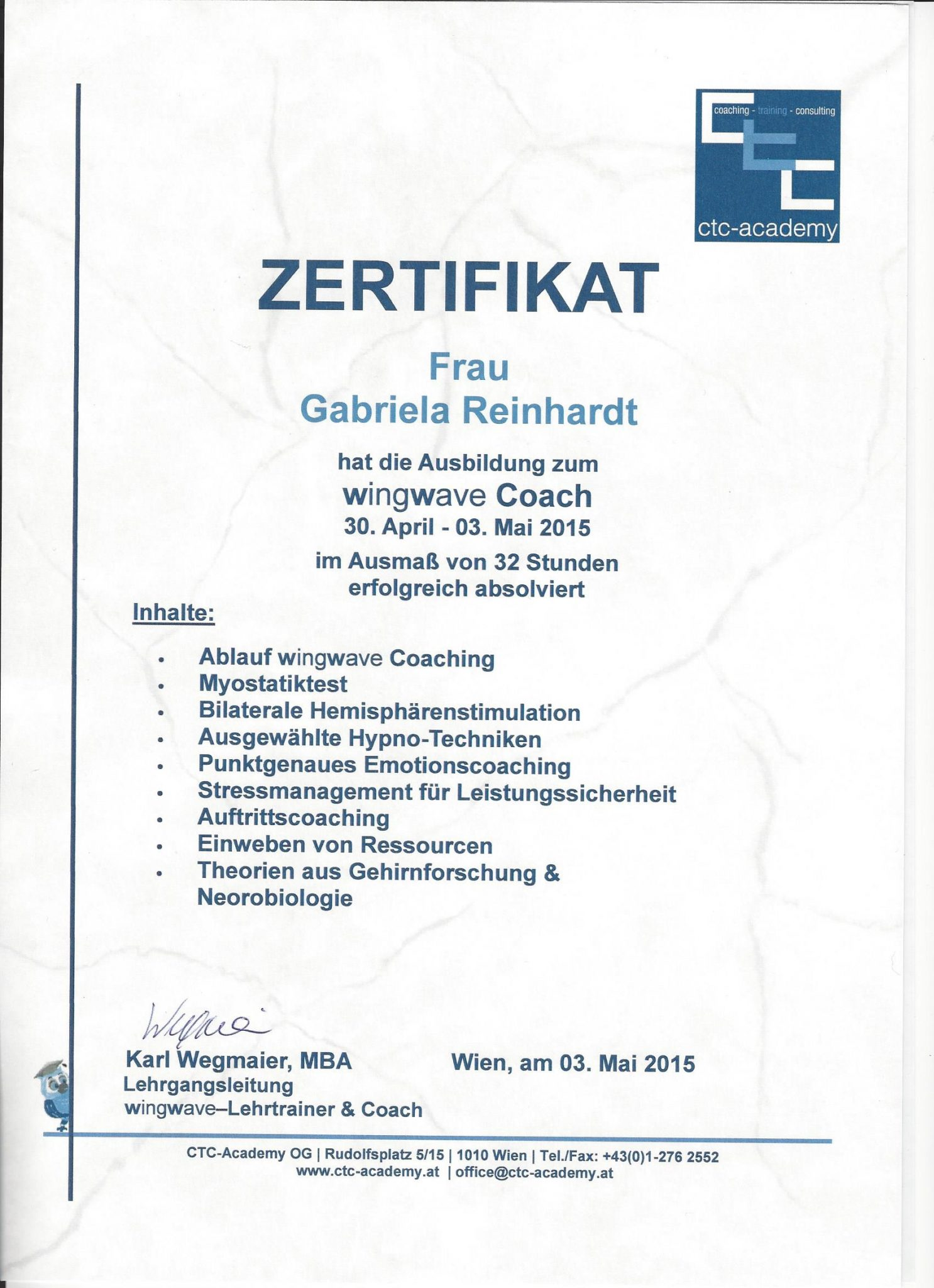 RGH-Consulting | Gabriela Reinhardt | Zertifikate | Zertifikat wingwave Coach